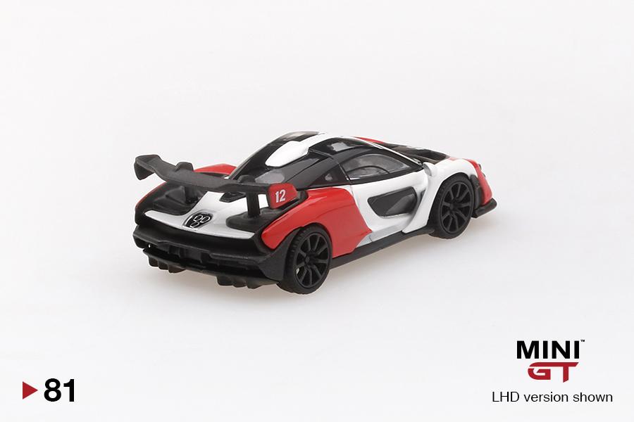 MINI GT MGT00081-L 1//64 MCLAREN SENNA ORANGE//WHITE 81 LHD